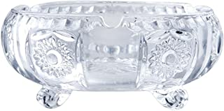 Transparent Crystal Glass Ashtray Engraved Cornucopia with Foot Ashtray Creative Boyfriend Gift Living Room Home (Color : Clear)