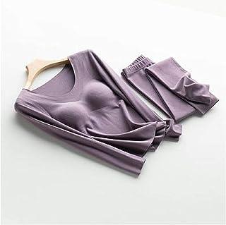 ملابس داخلية للسيدات مجموعة ملابس داخلية حرارية سلسة للنساء مع وسادة صدر بالإضافة إلى قطيفة سميكة ملابس داخلية لا يمكن تحم...