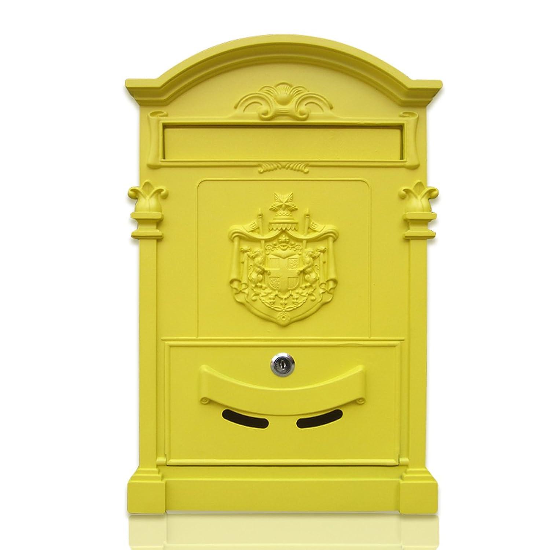 HZBb ヨーロッパスタイルのヴィラ郵便受け屋外アンティークウォールタイプのメールボックス、壁の装飾、イエロー