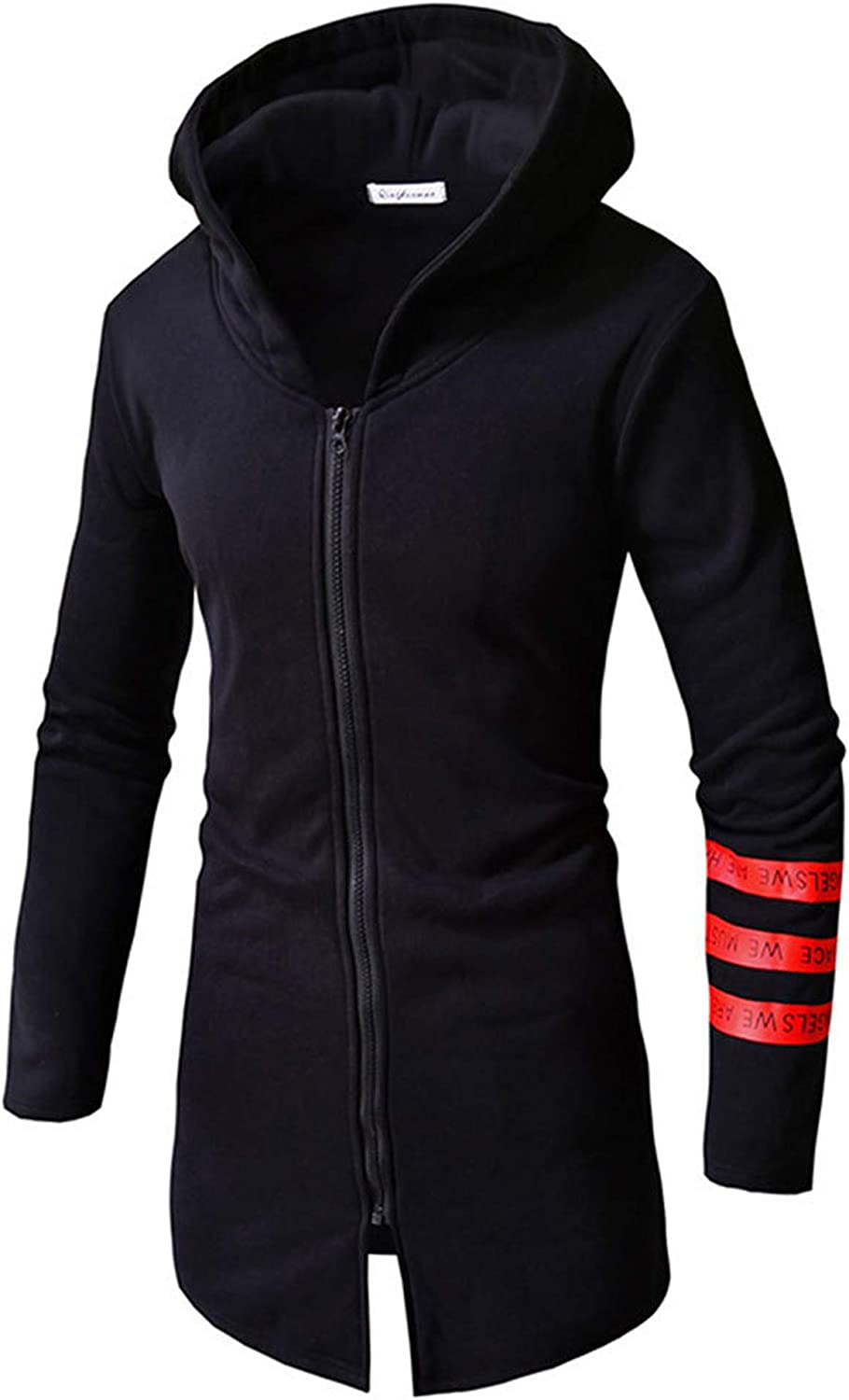 Allonly Men's Fashion Color Block Big Hood Long Sleeve Zip-up Round Bottom Hoodie Sport Workout Sweater Jacket