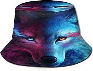 Fisherman Hat Blue Cool Wolf Moon Art Sun Hat Women Men Eye Protect Breathable Bonnie Cap 3D Printed Beach Hat Durable&Reversible for Summer Outdoor