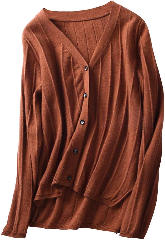 Dissa F4149 Women Cashmere VNeck Slim Long Sleeve Cardigan
