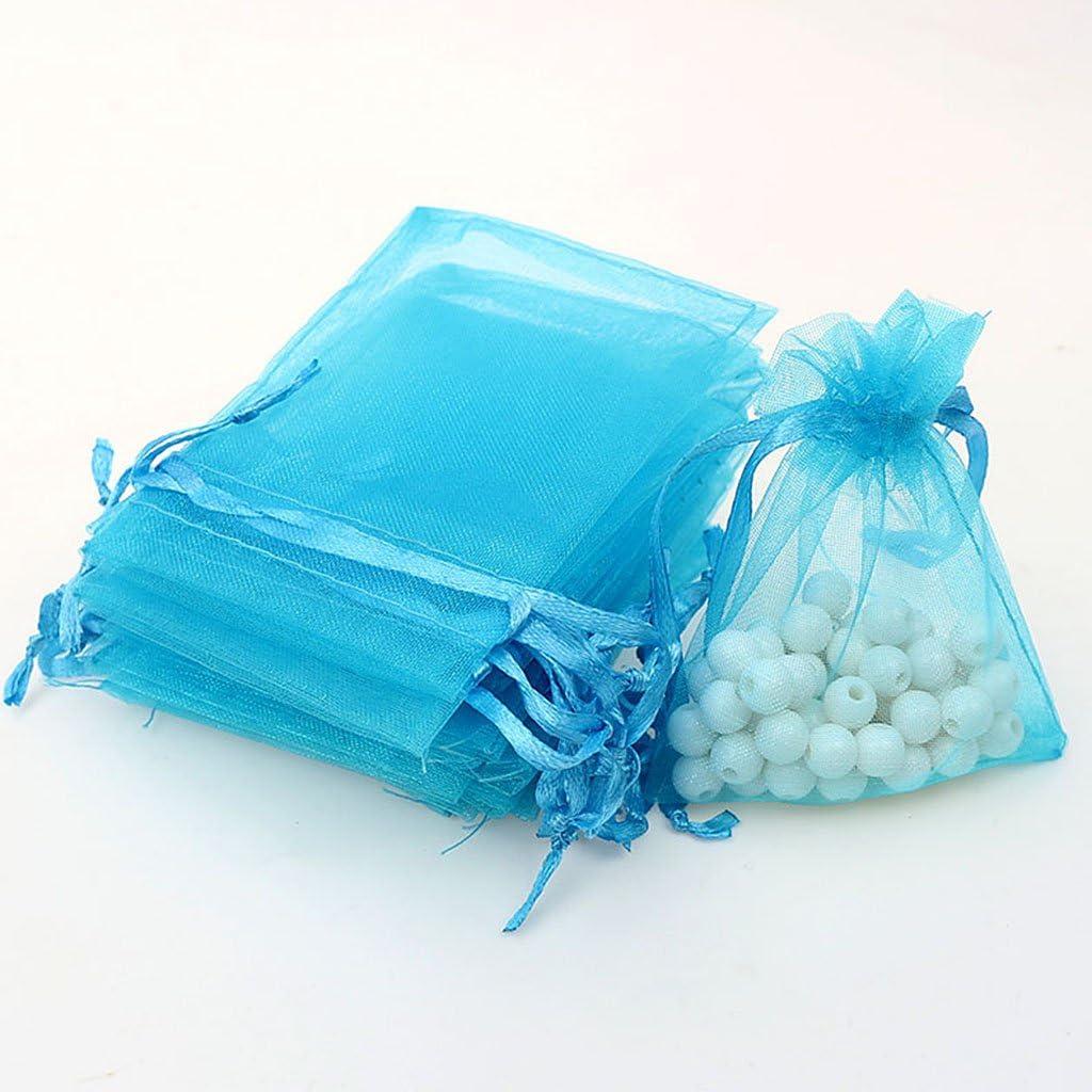 FITYLE 100pcs 7x9cm Bolsas De Regalo De Organza Dulces Joyas Bolsas De Almacenamiento Favores De Boda Azul Marino