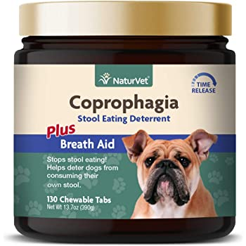 NaturVet – Coprophagia Stool Eating Deterrent Plus Breath Aid – Deters Dogs from Consuming Stool – Enhanced with Breath Freshener, Enzymes & Probiotics – 130 Chewable Tablets