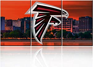 "Colorful Decor American Football Pictures for Living Room Atlanta Falcons Logo Paintings Giclee 3 Piece Canvas Wall Art HD Prints American City Artwork Framed Stretched Ready to Hang(48""WX24""H)"