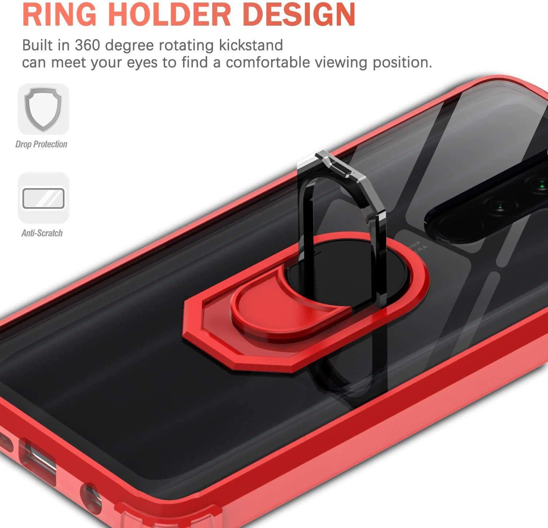 Oihxse Case per Trasparente Cover Redmi Note 8T Custodia Silicone TPU Protettivo,con 360/°Rotante Anello Magnetica Supporto Militare Case Rigida Originale Antiurto Bumper Cover-Blu