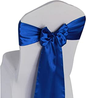 Royal Blue Satin Chair Sashes Ties - 12 pcs Wedding Banquet Party Event Decoration Chair Bows (Royal Blue, 12)