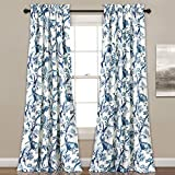 Lush Decor Curtains Dolores Darkening Window Panel Set for Living, Dining Room, Bedroom (Pair), 84' x 52', Blue, 2 Count