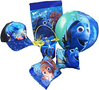 Disney Pixar Finding Nemo-Dory Ultimate Beach Gift Bundle -Beach Pail, Goggles, Beach Ball, Arm Floaties, Hat, Sling Carry Bag
