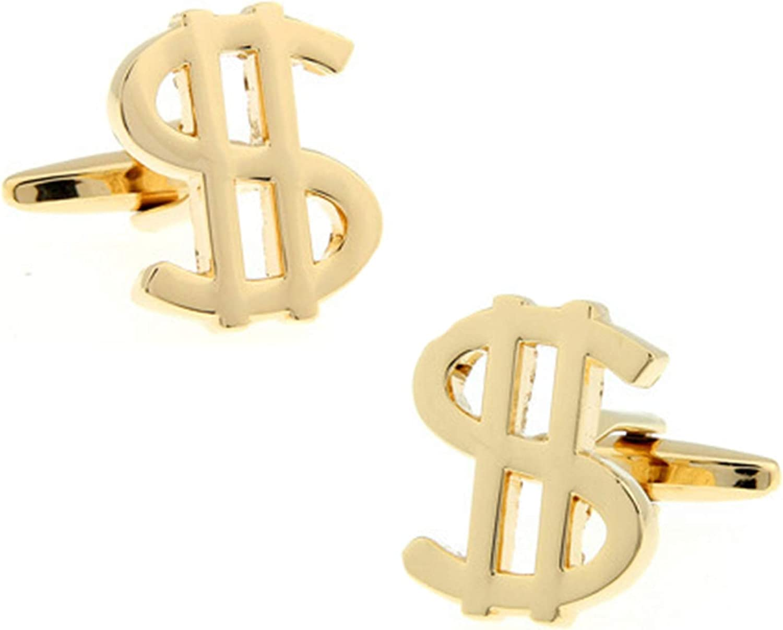 Daesar Cufflinks and Studs Wedding Cufflinks Shirt for Men Dollar Symbol Gold Cuff Links and Studs