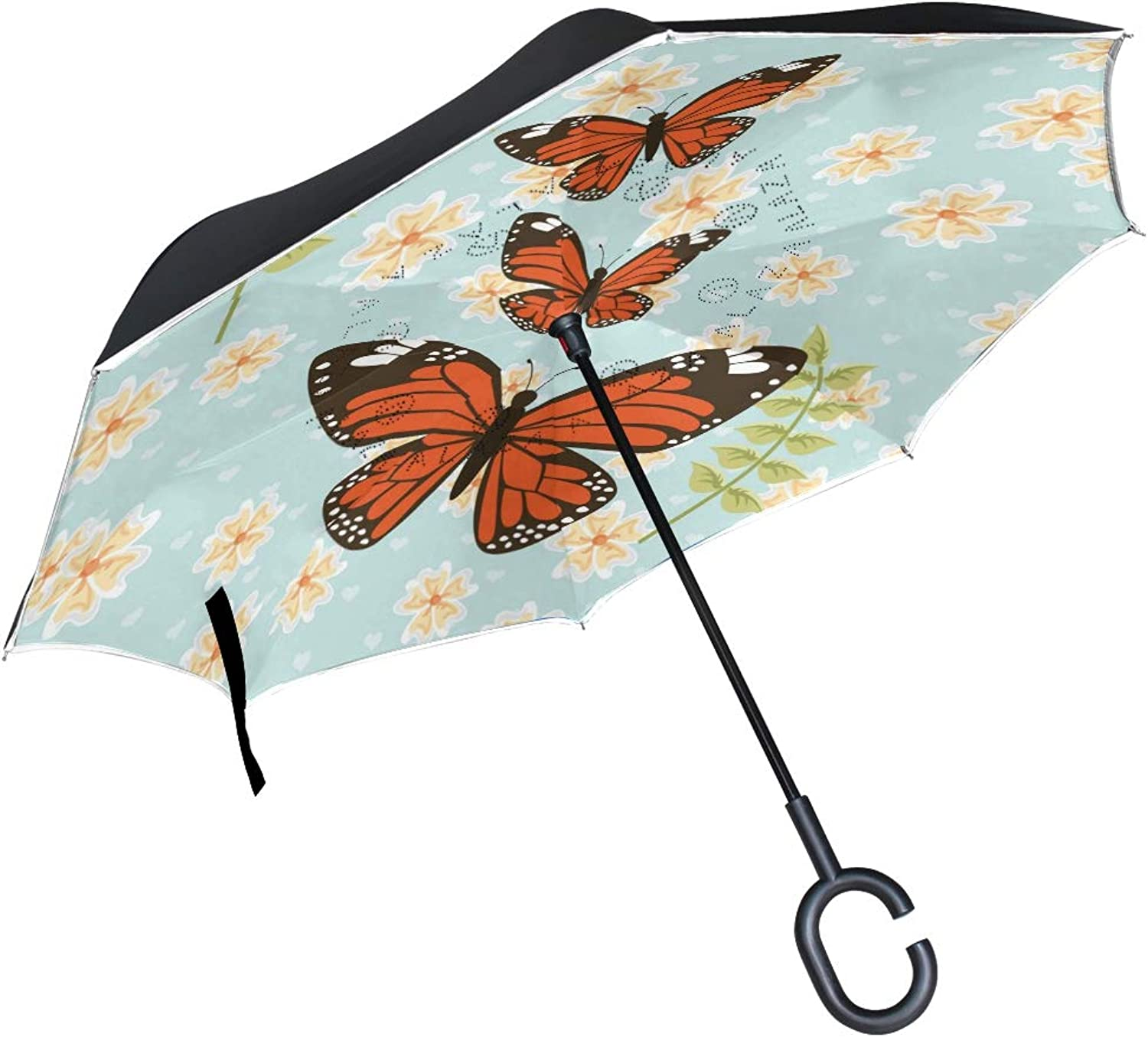 Ingreened Umbrella Double Layer Reverse Umbrella Waterproof Windproof UV Predection Straight Umbrella with CShaped Handle Daisy Flower with Butterfly Digital Printing for Car Rain Outdoor Use