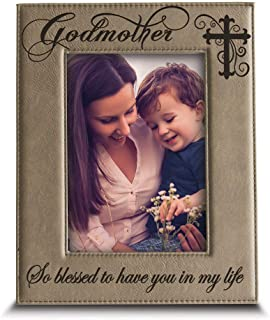 BELLA BUSTA-Godmother with Cross-So Blessed to Have You in My Life-Godmother Gift from Godchild Engraved Lather Picture Fr...