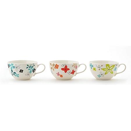 東秀陶器 カップ_ソーサー 3柄 約340ml 北欧スタイル スープカップ(3柄組) 3個入 3個セット