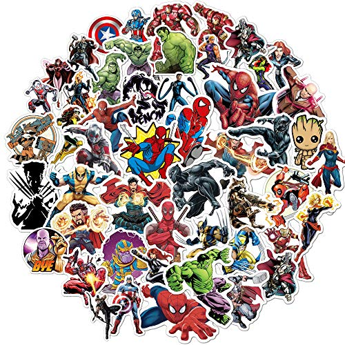 Marvel-Aufkleber für Kinder (100 Stück), Superhelden-Aufkleber für Wasserflaschen, Trinkflasche, Vinyl-Aufkleber für Laptop-Skateboard-Gepäck-Aufkleber Graffiti-Patches-Aufkleber in loser Schüttung