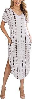 Women Summer Casual Short Sleeves V Neck Two Pockets Tie Dye Split Loose Maxi Dress