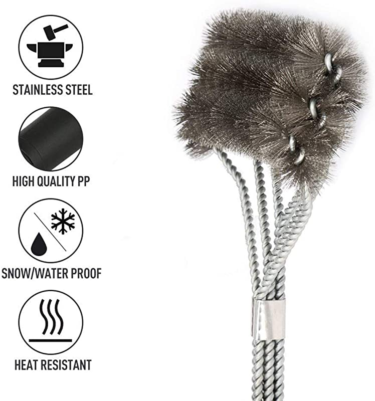 OuTera BBQ Clean Brush 3 In1 Comfortable Handle Durable Soft Grill Brush Perfect 18 Inch Stainless Steel Tools For All Grill Black