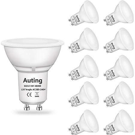 Ampoule GU10 Led Blanc Chaud(3000K), Auting Gu10 Led 5W 470 Lumens Ampoules Led GU10 Remplacement Pour Ampoule Halogène 35W, Angle de Faisceau 120 °, CRI> 82, 220-240VAC, 10 Pièces