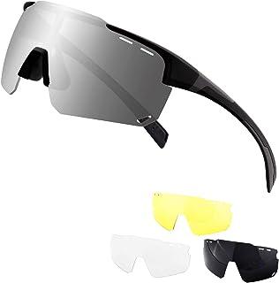 DUDUKING Gafas De Sol Polarizadas para Ciclismo con 3 Lentes Intercambiables UV400 Gafas de Protección para Montar Se Adapta al Esquí Correr Ciclismo,Deportes al Aire Libre