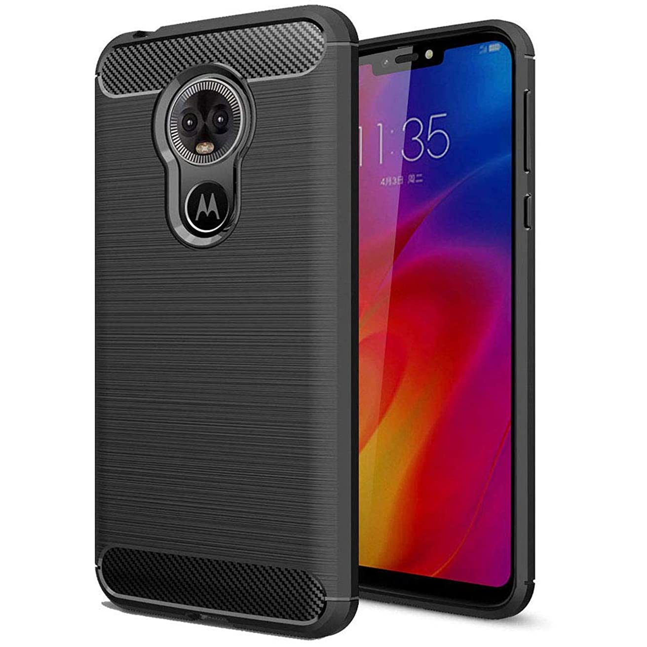 Moto E6 Case, SKTGSLAMY Moto E6 Case with Scratch Resistant Shock Absorption Brushed Texture Soft TPU Cover for Motorola Moto E6 (Black)