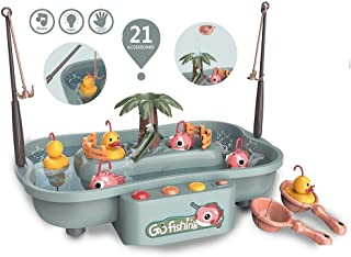 Fishing Game Toddler toys – Catch fish and ducks with fishing poles and spoons, play with water with music effect, Toys fo...