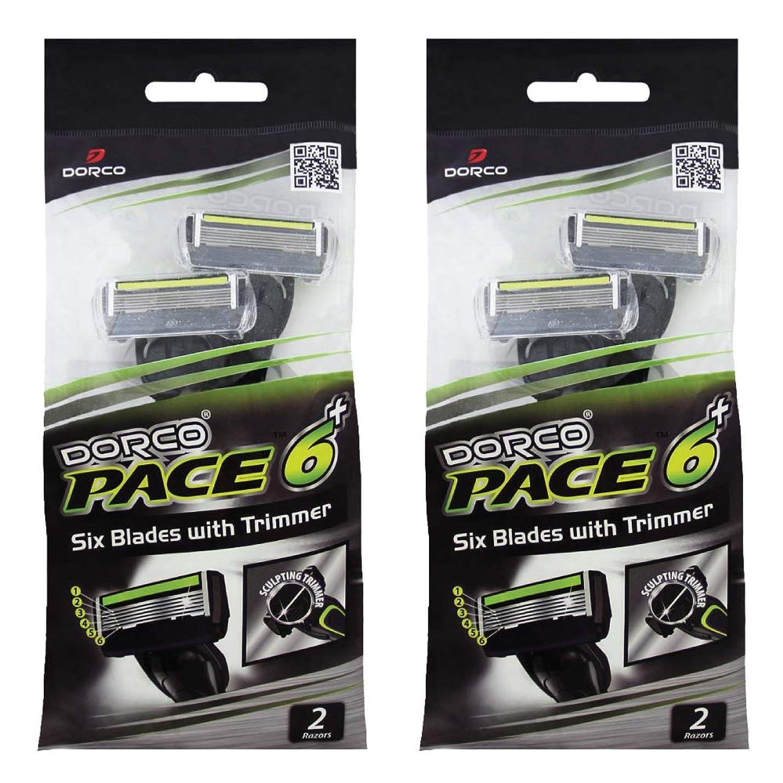 上維持する弾丸ドルコ Pace6 Plus 枚刃カミソリ トリマー付き:Dorco メンズT字シェーバー4本入り、使い捨て、肌に優しい深剃り [並行輸入品]