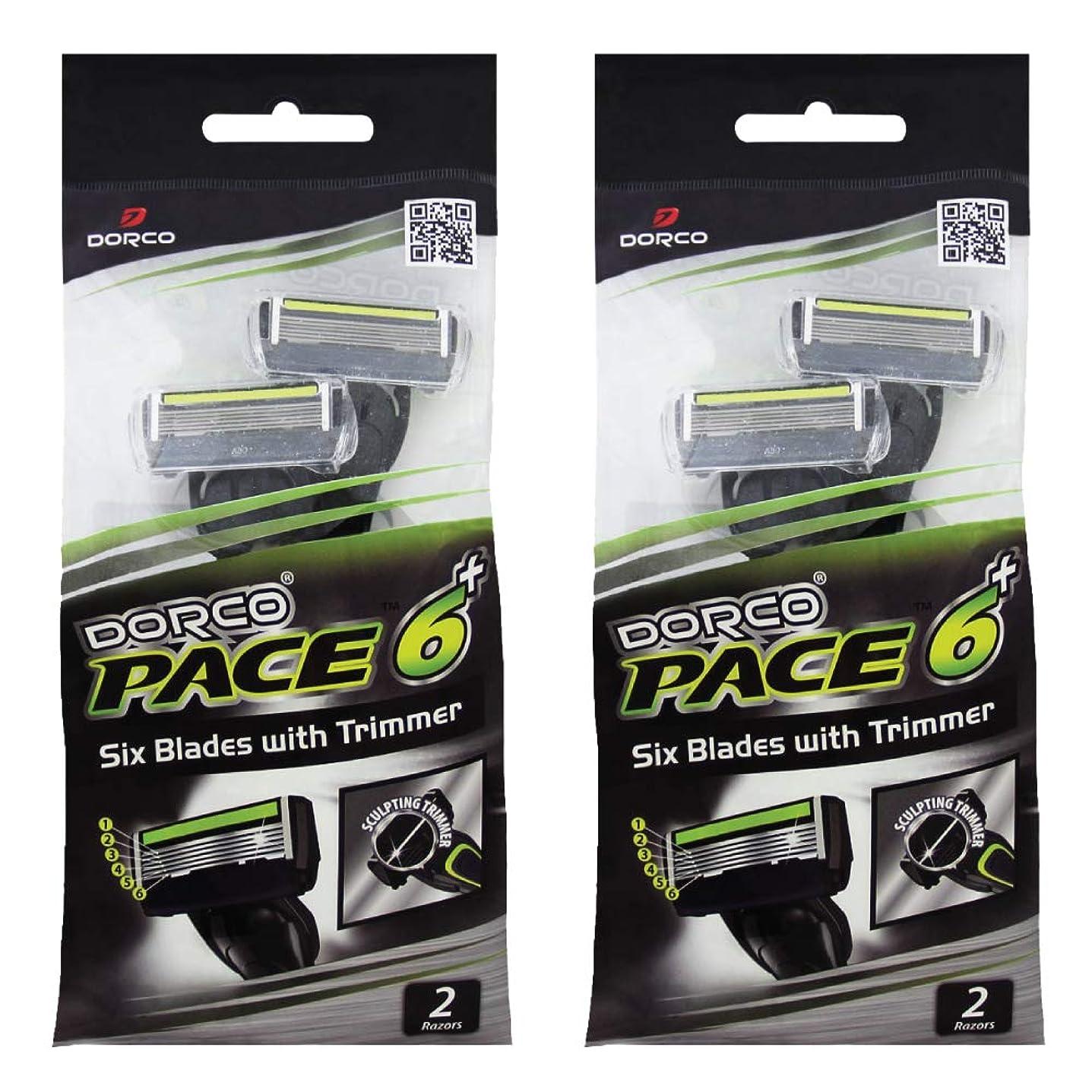 取り消すプログレッシブ一定ドルコ Pace6 Plus 枚刃カミソリ トリマー付き:Dorco メンズT字シェーバー4本入り、使い捨て、肌に優しい深剃り [並行輸入品]