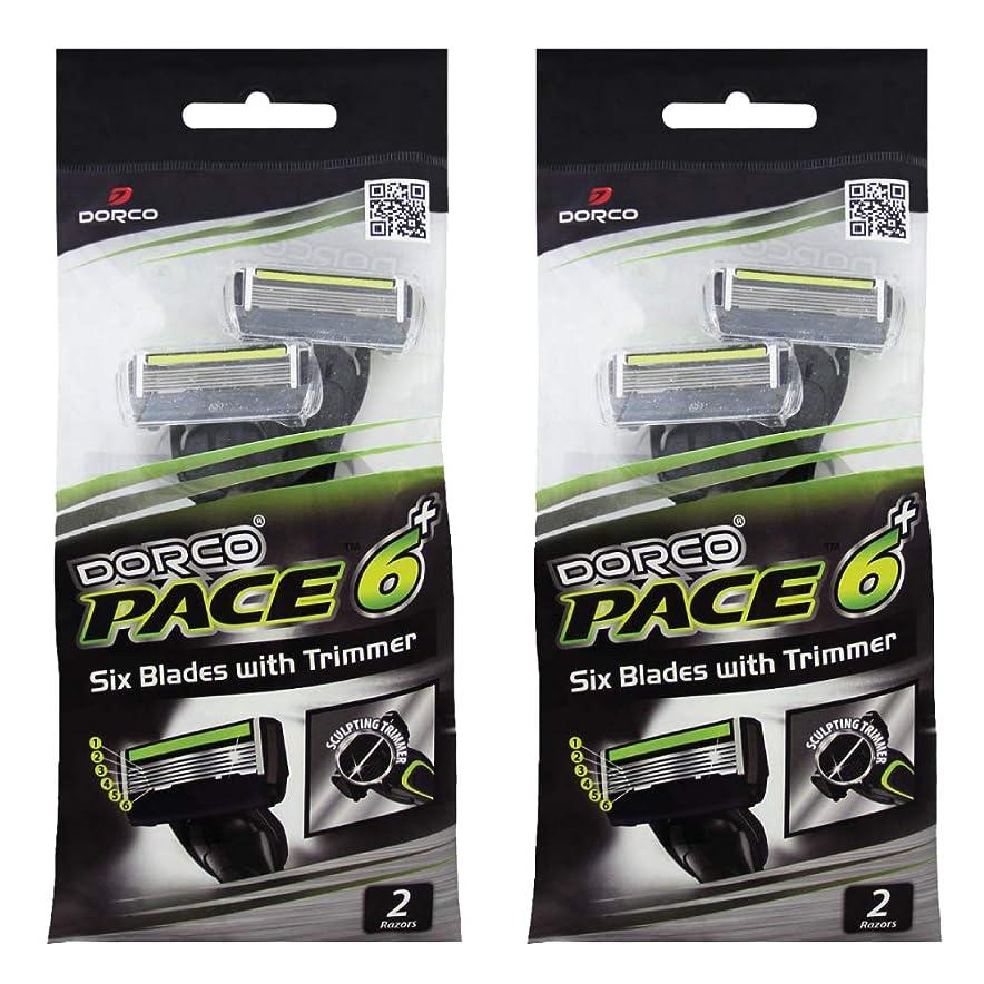 投資出します見物人ドルコ Pace6 Plus 枚刃カミソリ トリマー付き:Dorco メンズT字シェーバー4本入り、使い捨て、肌に優しい深剃り [並行輸入品]