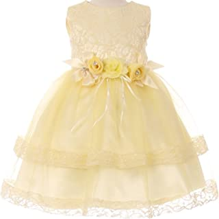 8444d5edcec Baby Girls Lace Double Layered Tulle Toddler Infant Easter Flower Girl Dress