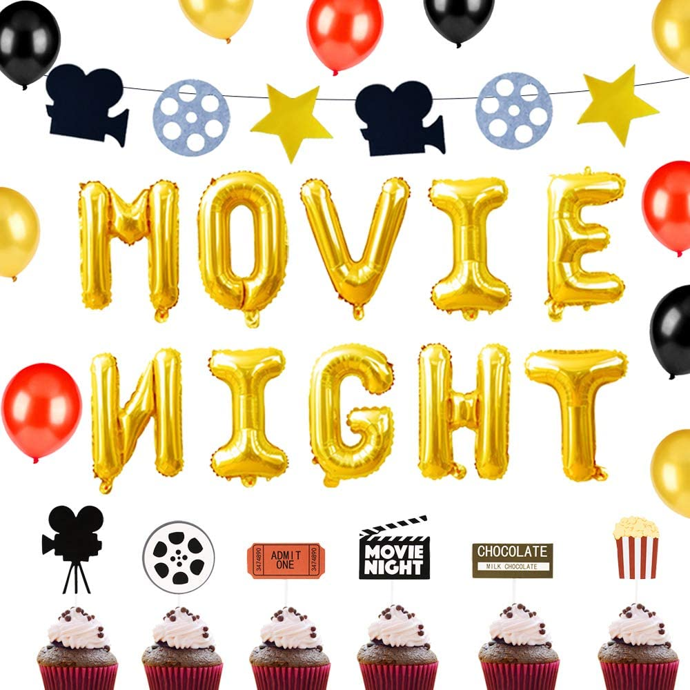 LaVenty 29 PCS Movie Night Balloons Movie Night Birthday Party Ideas Movie Night Party Decoration Hollywood Party Decorations Movie Night Party Supplies