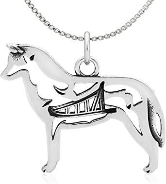 w//Badger in Body Sterling Silver Longhaired Dachshund Pendant