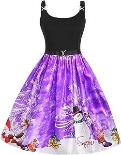 Ultramall Dress Women's Fashion Straps Vintage Santa Claus Snowflake Print Christmas Dress