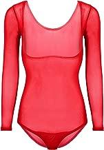 Freebily Women's Chest Support Mesh Sheer See Through Latin Belly Dance Basic Top Bodysuit Leotard Underwear