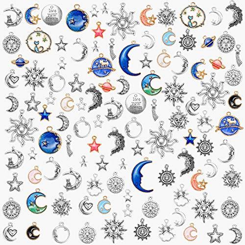 Meetory 114 abalorios de joyería surtidos chapados en oro esmaltados, diseño de gato, luna, estrella, celestial, para pendientes, collar, pulsera, fabricación de joyas y manualidades