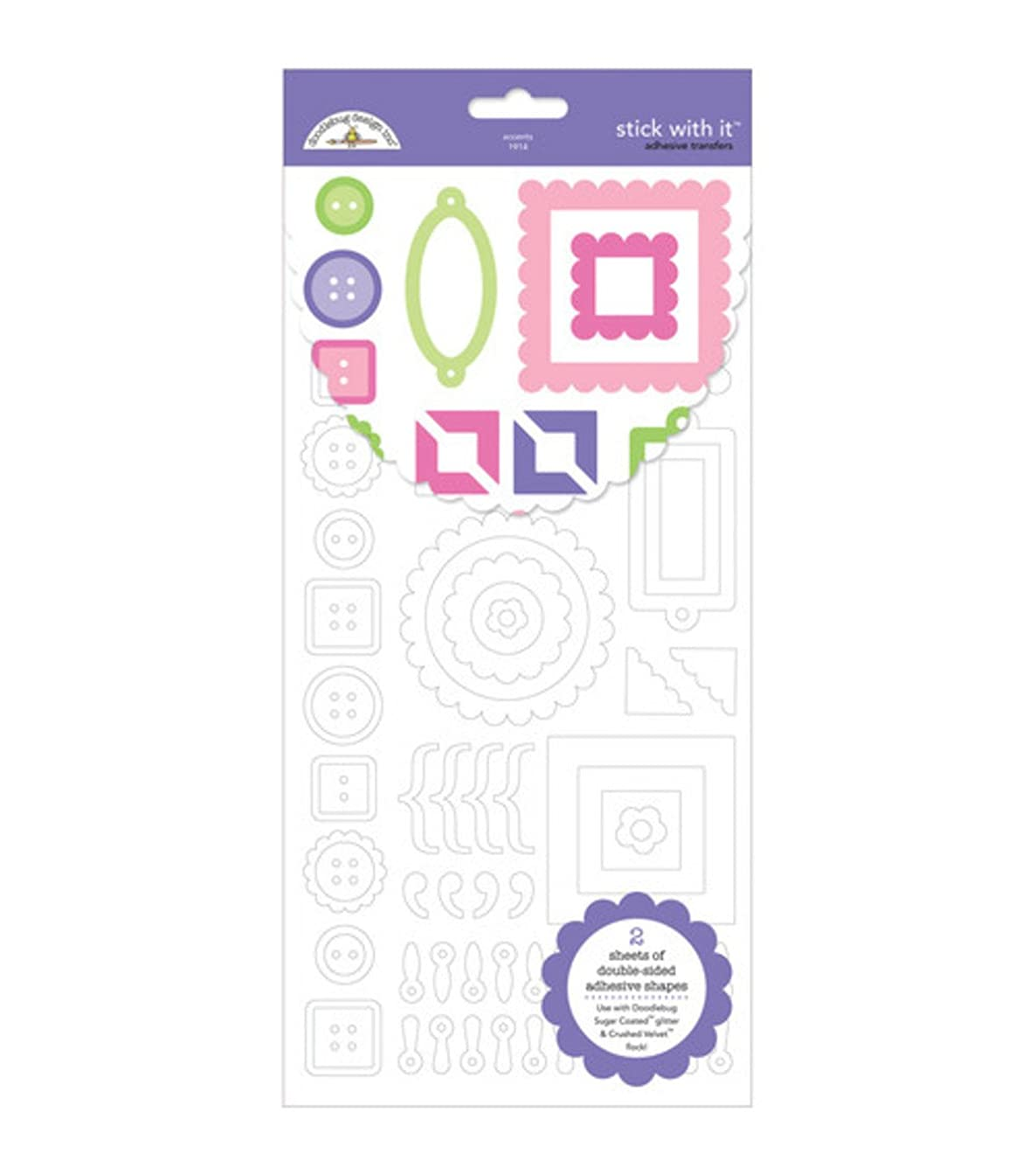 DOODLEBUG Stick With It Adhesive Transfer Sheets 6 Inch by 12 Inch 2/Package, Accent