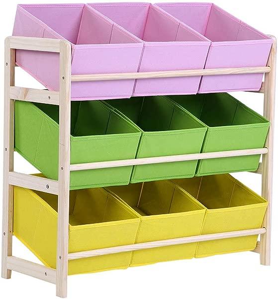 Zerone 3 Tier Children Multi Color Deluxe Toy Organizer Baby Kids Toy Wooden Shelf Storage Rack With 9 Fabric Storage Bins