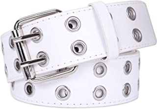 Double Grommet PU Leather Belt for Women/Men Punk metal Jean Belt Wide 1.5 Inch