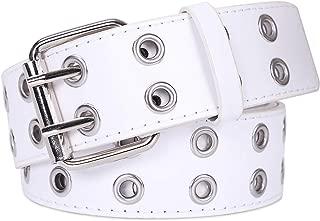 Double Grommet PU Leather Belt for Women/Men Punk metal Jean Belt Wide 1.5 Inch