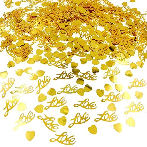 JZK 4 Packung funkelnden Liebe Herz Gold Konfetti Streudeko Confetti Tischdeko für Hochzeit Hochzeitstag Valentinstag