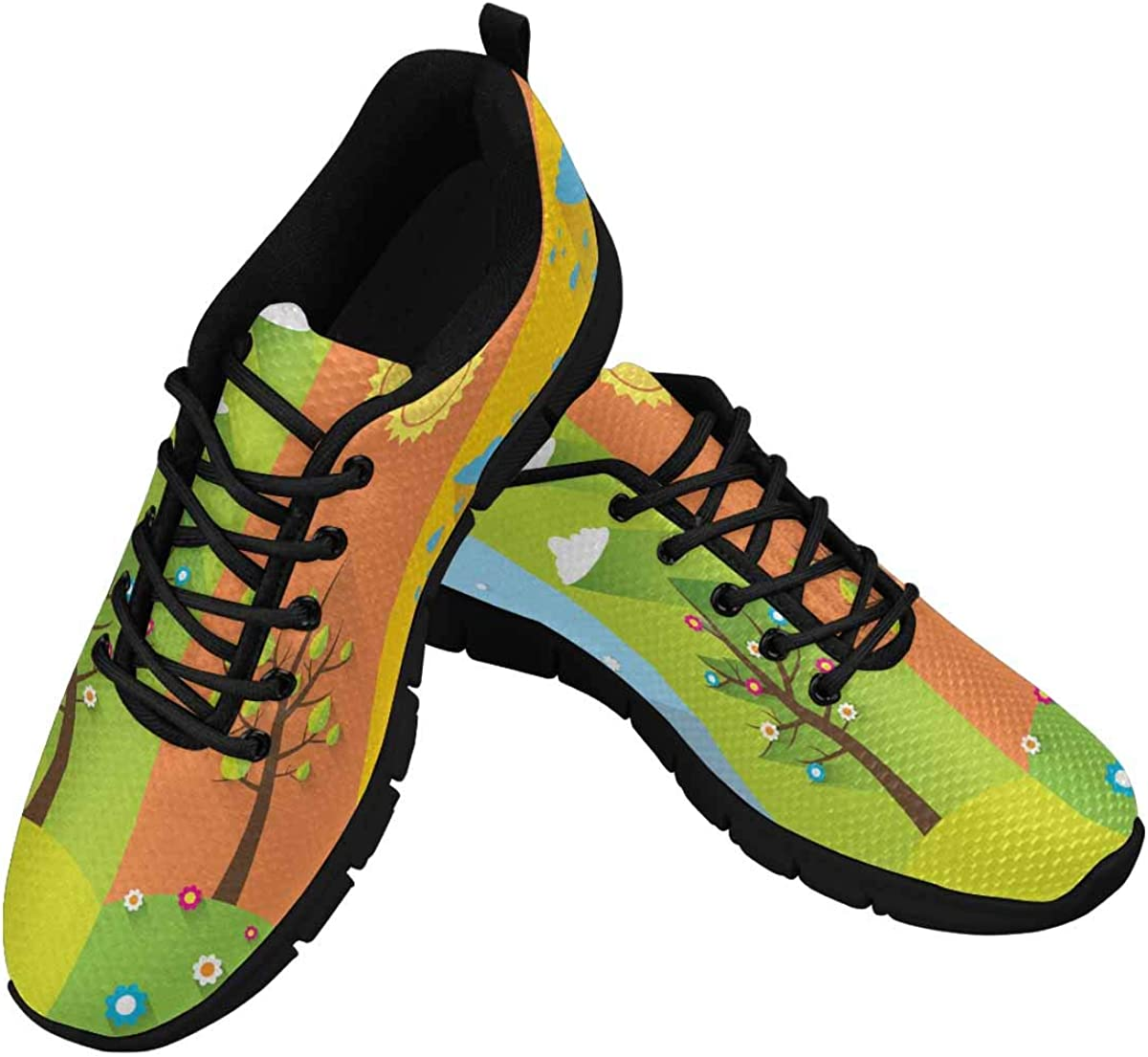 InterestPrint Trees in Four Seasons Lightweight Mesh Breathable Sneakers for Women