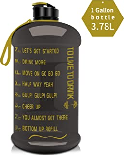 Big Water Bottle Large New Material Tritan 1 Gallon/2.2L Dishwasher Safe Motivational Time Maker Plastic Hot Cold Water Container Big Capacity Leakproof BPA Free for Fitness Camping Bicycle Gym