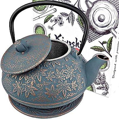 KIYOSHI Luxury Japanese Cast Iron Teapot with Loose Leaf Tea Infuser and Trivet, Cast Iron Tea Kettle Stovetop Safe. Coated with Enamel Interior. Large Capacity 40OZ.