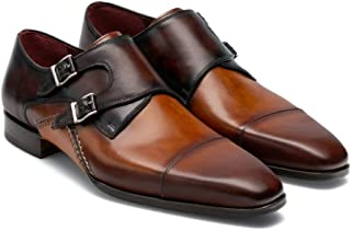 Costoso Italiano Tan & Brown Leather Formal Monk Strap Shoes for Men