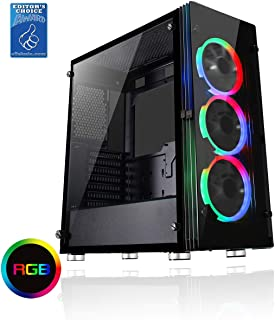 MATX Full Acrylic Left Side Panel RGB Hub Black CiT Legend RGB PC Gaming Case 3 x Single-Ring RGB Fans Included 5 Fan Support IR Remote Controller