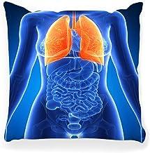 LXJ-CQ Funda de Almohada 18x18 Anatomía Femenina Pulmón Vías respiratorias Cuerpo Bronquios Salud Lóbulos Humanos Órganos médicos Fisiología Render Tráquea Funda de Almohada