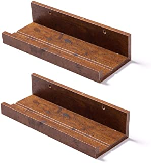 Muzilife Floating Picture Ledge Display Shelves Decorative Wall Mounted Shelf Home Decor (12 Inches Length, Set of 2, Honey)