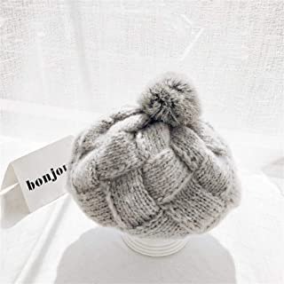 ZiWen Lu Korean Rabbit Fur Ball Knitted caps Hand-Knit Wool Cap Autumn and Winter Plaid Beret Solid Fashion Warm hat (Color : Grey, Size : One Size)
