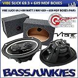 """Vibe Slick 6x9"""" 480w 3-Way Car Speakers + MDF 6x9 Speaker Box Enclosure"""