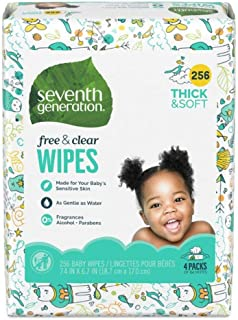 Seventh Generation, Baby Wipes, Unscented and Sensitive,64 Count (Pack of 4)