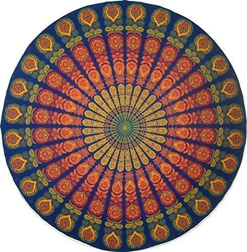 ronde indienne mandala - Nappe en coton - Style hippie bohème - Fleur de lotus - Serviette de plage ronde - En coton - Pour l'extérieur - Serviette de plage ronde