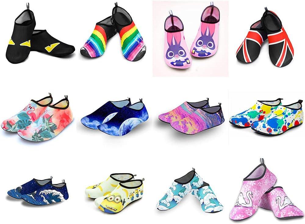 Men Beach Aqua Socks Women Kid Swimming Water Sport Barefoot Sneaker Gym Yoga Fitness Dance Swim Surfing Diving Snorkeling Shoes (Color : Blue Waves, Shoe Size : XXXS)